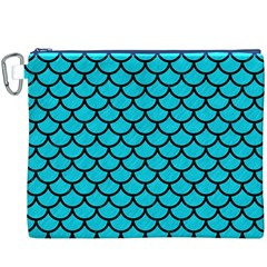 Scales1 Black Marble & Turquoise Colored Pencil Canvas Cosmetic Bag (xxxl) by trendistuff