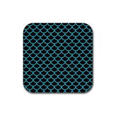 Scales1 Black Marble & Turquoise Colored Pencil (r) Rubber Coaster (square)  by trendistuff
