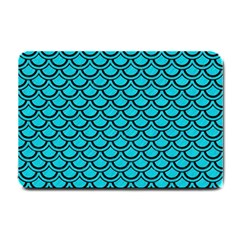 Scales2 Black Marble & Turquoise Colored Pencil Small Doormat  by trendistuff