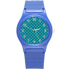 Scales2 Black Marble & Turquoise Colored Pencil Round Plastic Sport Watch (s) by trendistuff