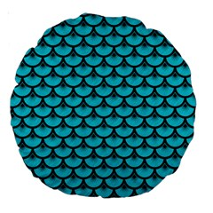 Scales3 Black Marble & Turquoise Colored Pencil Large 18  Premium Round Cushions by trendistuff