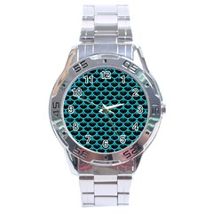 Scales3 Black Marble & Turquoise Colored Pencil (r) Stainless Steel Analogue Watch by trendistuff