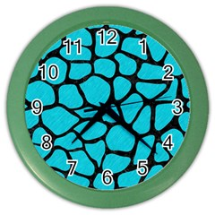Skin1 Black Marble & Turquoise Colored Pencil (r) Color Wall Clocks by trendistuff