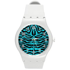 Skin2 Black Marble & Turquoise Colored Pencil (r) Round Plastic Sport Watch (m) by trendistuff