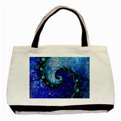 Nocturne Of Scorpio, A Fractal Spiral Painting Basic Tote Bag by beautifulfractals