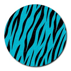 Skin3 Black Marble & Turquoise Colored Pencil Round Mousepads by trendistuff