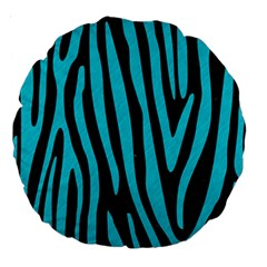 Skin4 Black Marble & Turquoise Colored Pencil Large 18  Premium Round Cushions by trendistuff