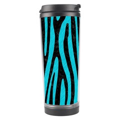 Skin4 Black Marble & Turquoise Colored Pencil (r) Travel Tumbler by trendistuff
