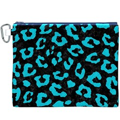 Skin5 Black Marble & Turquoise Colored Pencil Canvas Cosmetic Bag (xxxl) by trendistuff