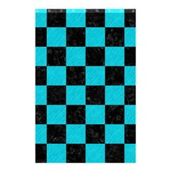 Square1 Black Marble & Turquoise Colored Pencil Shower Curtain 48  X 72  (small)  by trendistuff