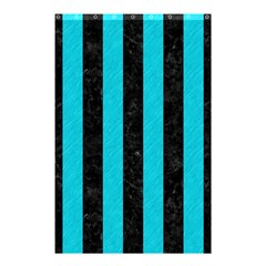 Stripes1 Black Marble & Turquoise Colored Pencil Shower Curtain 48  X 72  (small)  by trendistuff