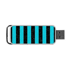 Stripes1 Black Marble & Turquoise Colored Pencil Portable Usb Flash (two Sides) by trendistuff