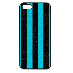 Stripes1 Black Marble & Turquoise Colored Pencil Apple Iphone 5 Seamless Case (black) by trendistuff