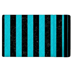 Stripes1 Black Marble & Turquoise Colored Pencil Apple Ipad 2 Flip Case by trendistuff