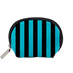 Stripes1 Black Marble & Turquoise Colored Pencil Accessory Pouches (small)  by trendistuff