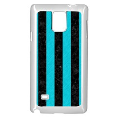 Stripes1 Black Marble & Turquoise Colored Pencil Samsung Galaxy Note 4 Case (white) by trendistuff