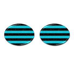 Stripes2 Black Marble & Turquoise Colored Pencil Cufflinks (oval) by trendistuff