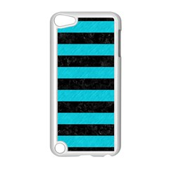 Stripes2 Black Marble & Turquoise Colored Pencil Apple Ipod Touch 5 Case (white) by trendistuff