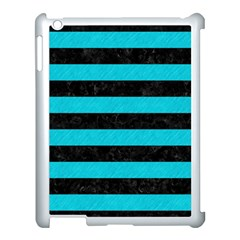 Stripes2 Black Marble & Turquoise Colored Pencil Apple Ipad 3/4 Case (white) by trendistuff