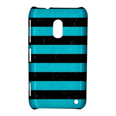 Stripes2 Black Marble & Turquoise Colored Pencil Nokia Lumia 620 by trendistuff