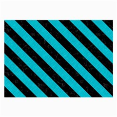 Stripes3 Black Marble & Turquoise Colored Pencil Large Glasses Cloth by trendistuff