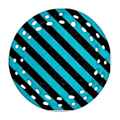 Stripes3 Black Marble & Turquoise Colored Pencil Ornament (round Filigree) by trendistuff