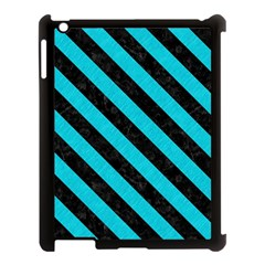 Stripes3 Black Marble & Turquoise Colored Pencil Apple Ipad 3/4 Case (black) by trendistuff