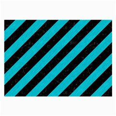 Stripes3 Black Marble & Turquoise Colored Pencil (r) Large Glasses Cloth by trendistuff