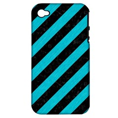 Stripes3 Black Marble & Turquoise Colored Pencil (r) Apple Iphone 4/4s Hardshell Case (pc+silicone) by trendistuff