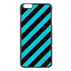 Stripes3 Black Marble & Turquoise Colored Pencil (r) Apple Iphone 6 Plus/6s Plus Black Enamel Case by trendistuff