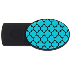 Tile1 Black Marble & Turquoise Colored Pencil Usb Flash Drive Oval (4 Gb) by trendistuff