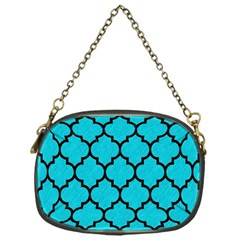 Tile1 Black Marble & Turquoise Colored Pencil Chain Purses (one Side)  by trendistuff