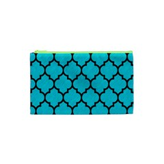 Tile1 Black Marble & Turquoise Colored Pencil Cosmetic Bag (xs) by trendistuff