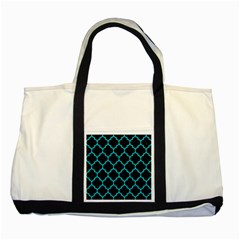 Tile1 Black Marble & Turquoise Colored Pencil (r) Two Tone Tote Bag by trendistuff
