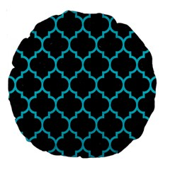 Tile1 Black Marble & Turquoise Colored Pencil (r) Large 18  Premium Round Cushions by trendistuff