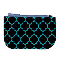 Tile1 Black Marble & Turquoise Colored Pencil (r) Large Coin Purse