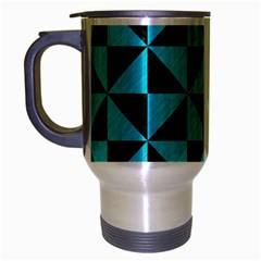 Triangle1 Black Marble & Turquoise Colored Pencil Travel Mug (silver Gray) by trendistuff