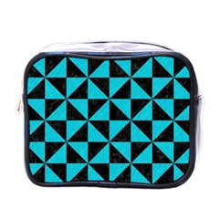 Triangle1 Black Marble & Turquoise Colored Pencil Mini Toiletries Bags by trendistuff