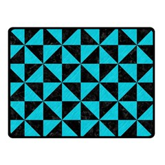Triangle1 Black Marble & Turquoise Colored Pencil Double Sided Fleece Blanket (small)  by trendistuff