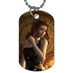 Wonderful Steampunk Women With Clocks And Gears Dog Tag (one Side) by FantasyWorld7