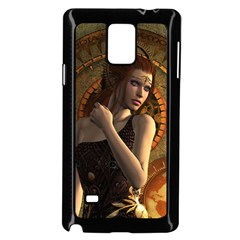 Wonderful Steampunk Women With Clocks And Gears Samsung Galaxy Note 4 Case (black) by FantasyWorld7