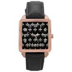 Royal1 Black Marble & Silver Foil Rose Gold Leather Watch  by trendistuff