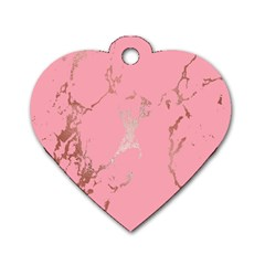 Luxurious Pink Marble Dog Tag Heart (one Side) by tarastyle