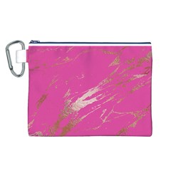 Luxurious Pink Marble Canvas Cosmetic Bag (l)