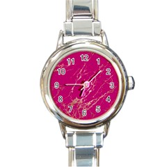 Luxurious Pink Marble Round Italian Charm Watch by tarastyle