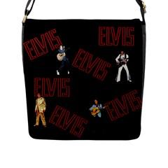 Elvis Presley Flap Messenger Bag (l)  by Valentinaart