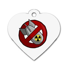No Nuclear Weapons Dog Tag Heart (two Sides) by Valentinaart