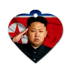 Kim Jong Un Dog Tag Heart (one Side) by Valentinaart