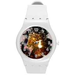 Wonderful Horse In Watercolors Round Plastic Sport Watch (m) by FantasyWorld7