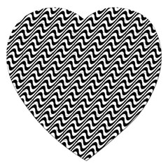 Black And White Waves Illusion Pattern Jigsaw Puzzle (heart) by paulaoliveiradesign